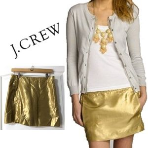JCrew Gold Metallic miniskirt size 4 Holiday skirt
